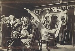 Art students painting from sculptures around 1859