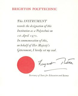 A certificate recording the formation of Brighton Polytechic, 1970s