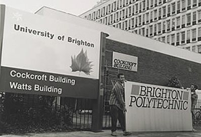The Brighton Polytechnic sign being replaced with one for the University of Brighton, 1992