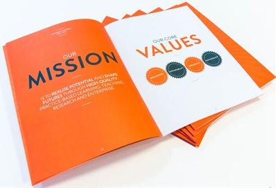A copy of the strategy document open on the 'mission and values' page