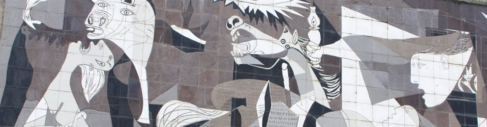 Picture of Picasso's Guernica as painted on a wall.