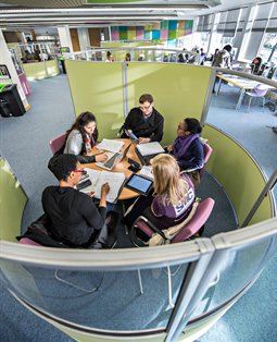 students working together in Aldrich library