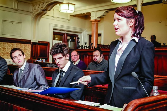 Law students in courtroom