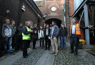 Students on field trip at Shepherd Neame brewery