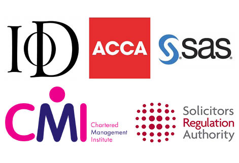 Institute of Directors, ACCA, SAS, Chartered Management Institute and Solicitors Regulation Authority logos