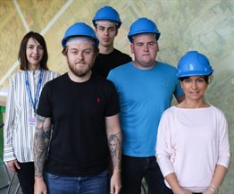 Civil engineering apprentices with course leader