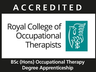 RCOT accredited logo BSc (Hons)Degree Apprenticeship