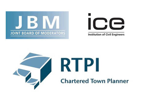 Joint Board of Moderators, Institute of Civil Engineers and Royal Town Planing Institute logos