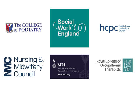 The College of Podiatry, Social Work England, Health and Care Professionals Council, Nursing and Midwifery Council, World Federation of Occupational Therapists and Royal College of Occupational Therapists logos