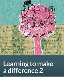 Cover image for Learning to make a difference 2 (naive drawing of a pink tree with human faces in it)