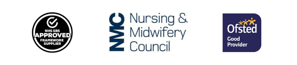 logos for NHS approved framework supplier, nursing and.midwifery council and Ofsted 'Good' provider