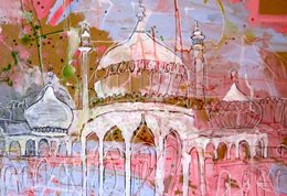 Colourful drawing of Brighton Pavilion