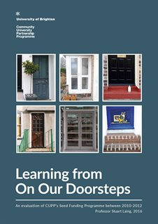Front cover with photographs of six very different front doors