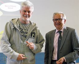 Chris Evenden Momentum Brighton Mentor of the Year 2016-17 receiving his award from Professor Chris Pole