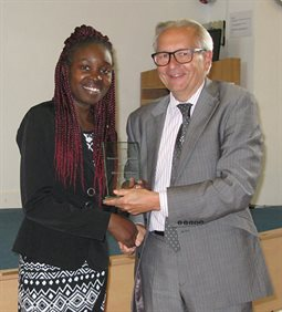 Erika Gogo Momentum Brighton Mentee of the Year 2016-17 receiving her award from Professor Chris Pole