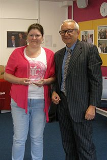 Vicky Wingrove Momentum Eastbourne Mentee of the Year 2016-17 receiving her award from Professor Chris Pole