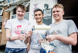 student volunteers outside the bevy