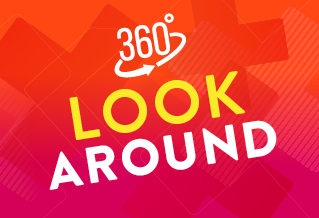 360 degree tours graphic with the text 'Look around'