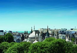 View of Brighton rooftops including the Royal Pavilion