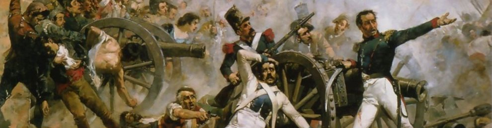 Artwork of Defense of the artillery park of Montelen by Joaqun Sorolla 1844