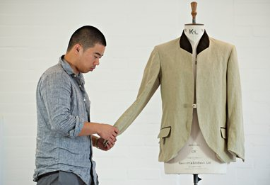 Fashion student with jacket design
