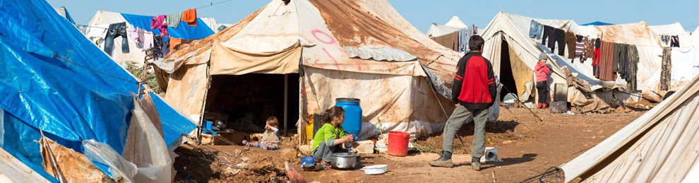 Syrian children in crowded refugee camp