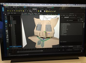 Graphics student using Maya 3D computer animation software