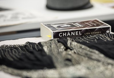 Chanel book sitting on a table
