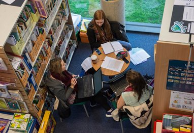 Students conducting group work in the library