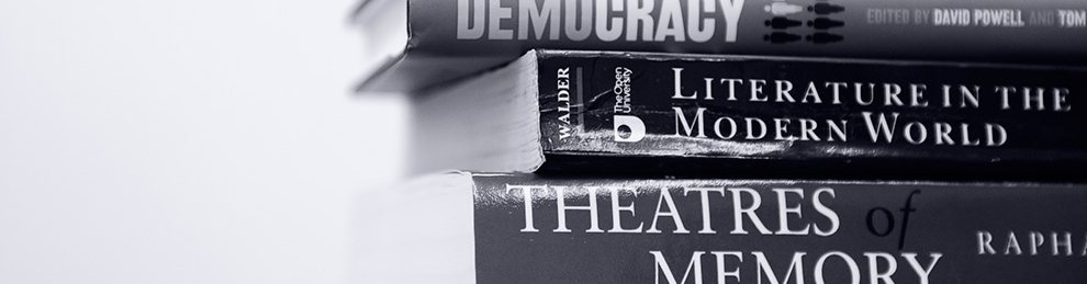 Black and white image of humanities text books