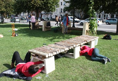 Students Assembling Their Bench Design For A Public Garden In Brighton As Part Of Collaborative Project With The Council And Hove Food