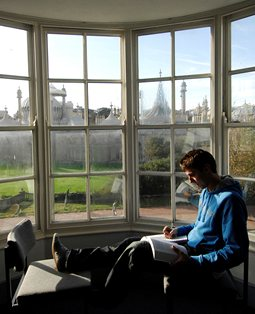 Student studying at Pavilion Parade