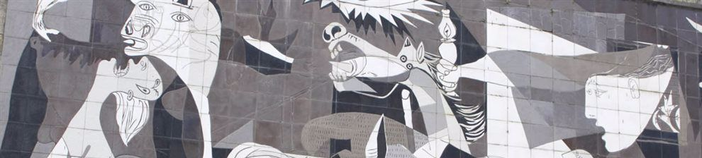 Detail of Guernica by Pablo Picasso showing top section, bull, horse and screaming heads