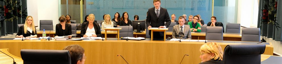 Law students argue a mock legal case in the Supreme Court