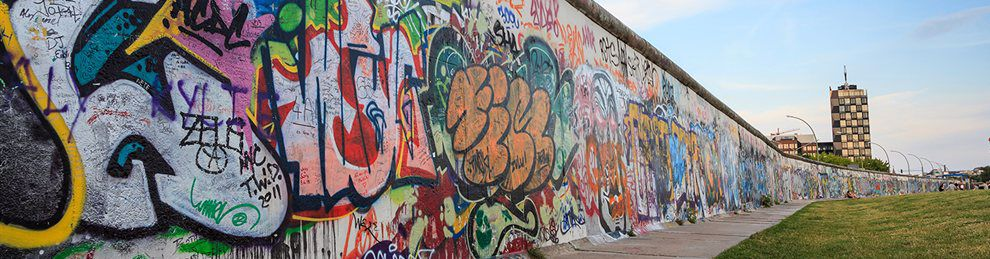 Berlin wall covered with graffiti