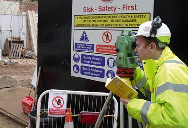 Student on placement at a building site