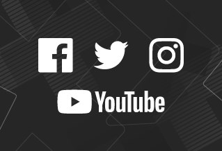 Graphic with the logos for Facebook, Twitter, Instagram and YouTube