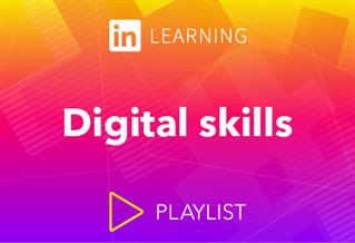 LindedIn Learning logo with words Digital skills