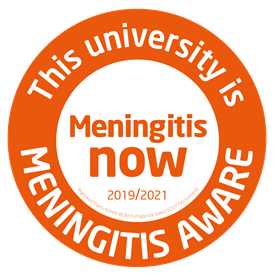 Graphic with text 'This university is meningitis aware 2019-2021'