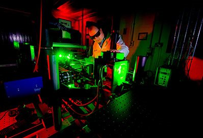 Man using lasers in the lab