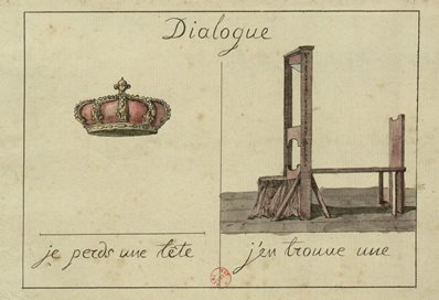 Antiquarian postcard with crown and guillotine reading Dialogue, je perds une tete, j'en trouve une. I lose a head, I find one.