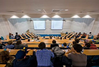 A lecture taking place in the Huxley Building