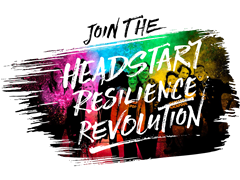 Reverse chalk type on coloured banner reading Join the Headstart Resilience Revolution