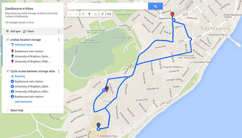 e-bike-Eastbourne-map