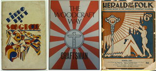 Three book covers: Kibbo Kift Songbook, The Woodcraft Way and Herald of the Folk