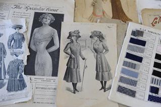 Catalogue dress patterns and fabric samples