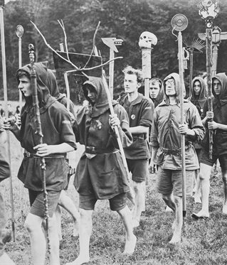Black and white photograph of Kibbo Kift procession