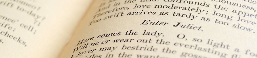 A close up of some text in a book of Romeo and Juliet