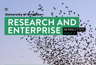 Research and Enterprise Newsletter title on image: Starlings in a flock over the sea: Murmuration of Starlings by Christopher Stevens