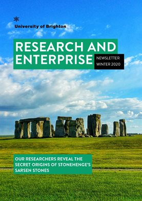 Cover page of Research and Enterprise Newsletter featuring image of Stonehenge and words Research and Enterprise